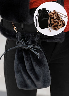 Faux Fur Drawstring Mini Bag, Styleonme
