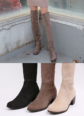 Suede Knee High Boots, Styleonme