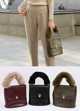 Faur Fur Handle Mini Tote Bag, Styleonme