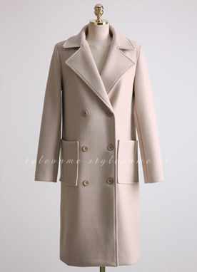 Wool Blend Quilted Lining Double Breasted Coat, Styleonme