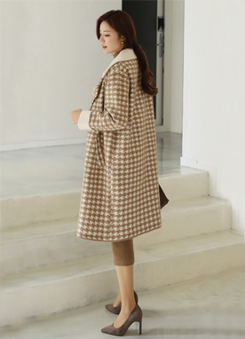 Houndstooth Check Print Knit Coat, Styleonme