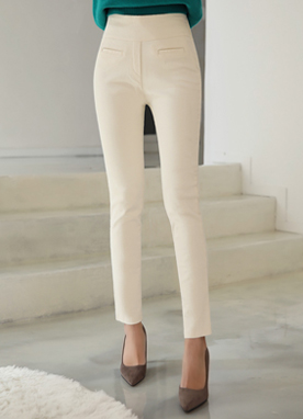 Brushed Lining Cotton Skinny Pants, Styleonme