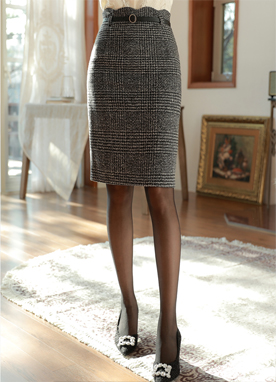 Scallop Trim Belted Wool Pencil Skirt, Styleonme