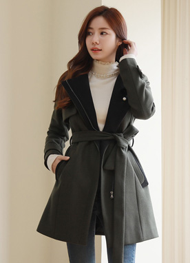 Belt Tie Wool Blend Half Coat, Styleonme