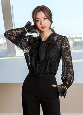Full Lace Ribbon Tie Blouse, Styleonme