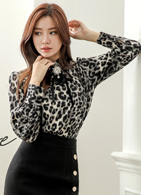 Leopard Print High Neck Ribbon Tie Blouse, Styleonme