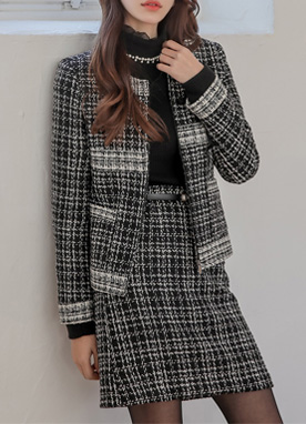 Black and White Tweed Jacket, Styleonme
