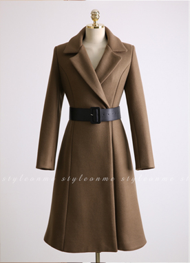 Big Buckle Belt Set Slim Fit Coat, Styleonme