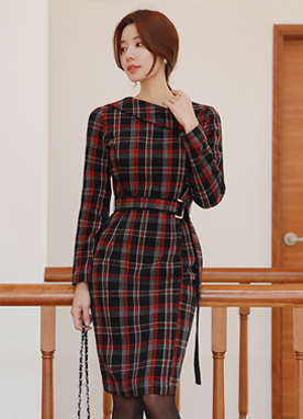 Red Check Print Belted Slim Fit Dress, Styleonme