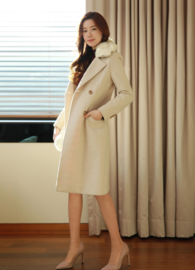 Rabbit Fur Collar Herringbone Pattern Coat, Styleonme