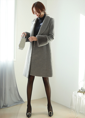 Mink Fur Cuff Double-Breasted Wool Coat, Styleonme
