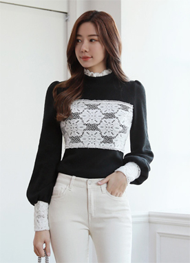 Feminine Lace Detail Blouse Tee, Styleonme