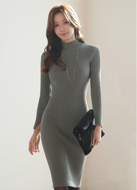Slim Fit Ribbed Knit Dress, Styleonme
