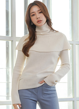 Wool Blend Cape Turtleneck Knit Top, Styleonme