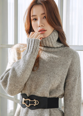 Wool Blend Loose Fit Turtleneck Sweater, Styleonme