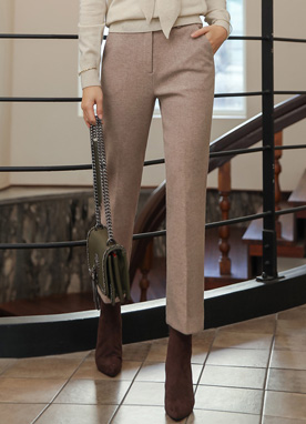 Winter Wool Blend Straight Leg Slacks, Styleonme