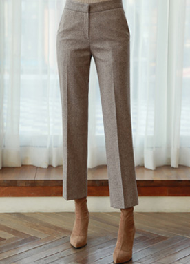 Straight Leg Wool Slacks, Styleonme