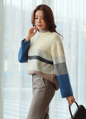 Stripe Loose Fit Angora Knit Sweater, Styleonme