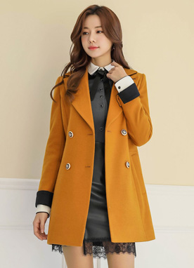 Two Color Wool Blend Tailored Coat, Styleonme