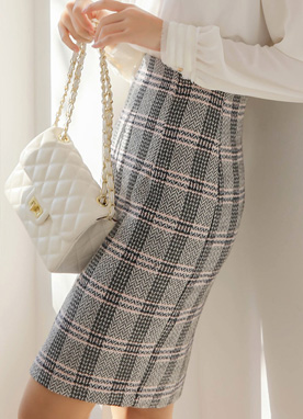 Check Print Pencil Skirt, Styleonme
