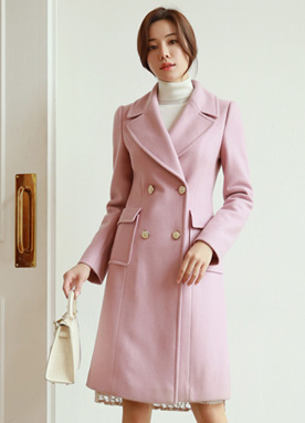 Pink Double-Breasted Wool Blend Coat, Styleonme