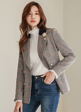 Check Print Wool Blend Double-Breasted Jacket, Styleonme