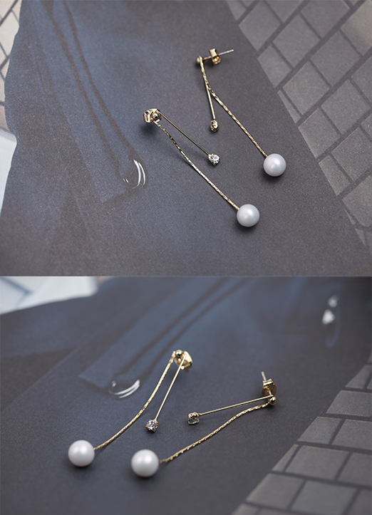 Pearl and Cubic Drop Earrings, Styleonme