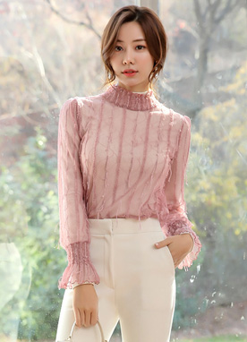 Lace Fringe See-through Blouse, Styleonme