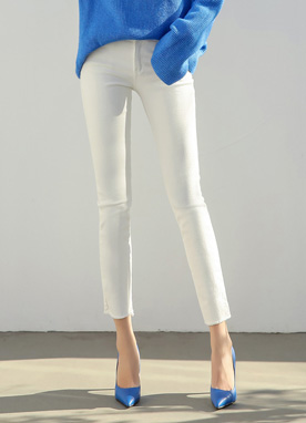 Two Button High-Waisted Cotton Skinny Pants, Styleonme