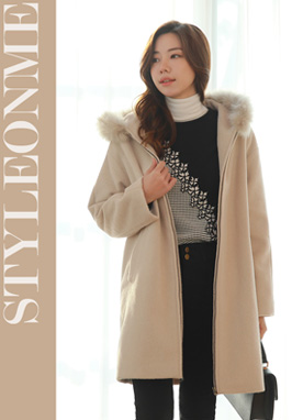 Fox Fur Hooded Zip-Up Wool Coat, Styleonme