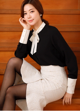 Black and White Tie Neck Blouse, Styleonme