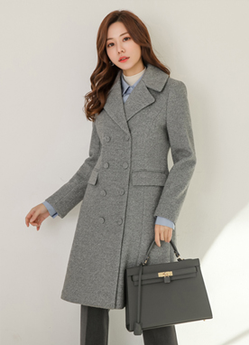 Herringbone Double-Breasted Wool Blend Coat, Styleonme