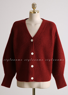 Soft Ribbed V-Neck Cardigan, Styleonme