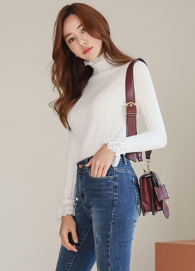 Lace Pearl Trim Turtleneck Knit Tee, Styleonme