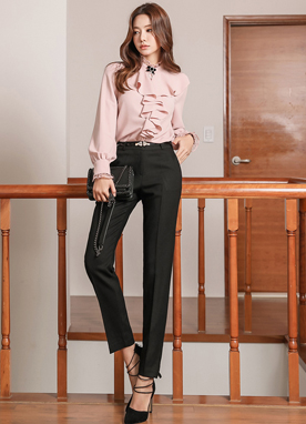 Modern Slim Fit Straight Leg Slacks, Styleonme