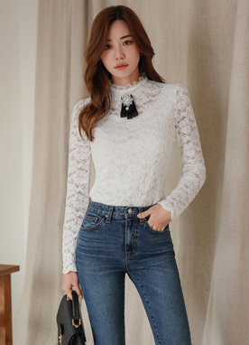 Brushed Rose Lace Frill Neck Tee, Styleonme