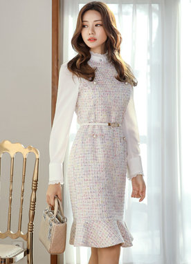 Sweet Mood Pearl Accent Tweed Dress, Styleonme