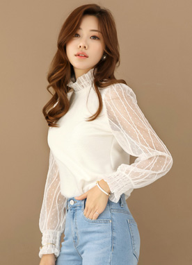 See-through Dot Pattern Blouse Tee, Styleonme