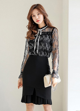 Two Tone Lace Pearl Button Blouse, Styleonme