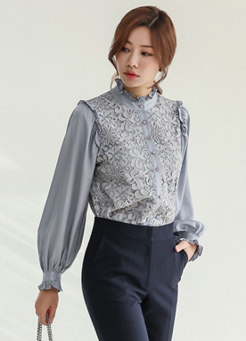 Satin Balloon Sleeve Floral Lace Blouse, Styleonme