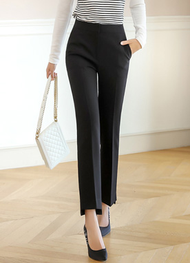 Step Hem Semi-Boot Cut Slacks, Styleonme