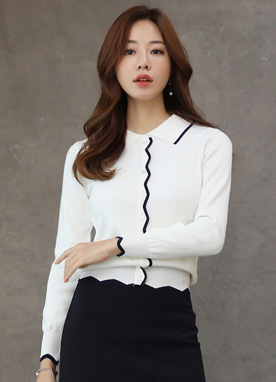 Brooch Set Scallop Trim Knit Top, Styleonme