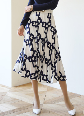 Luxury Chain Print Pleated Long Skirt, Styleonme