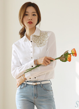 Gold Lace Flower Motif Collared Shirt, Styleonme