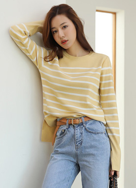 Stripe Round Neck High Low Hem Knit Tee, Styleonme