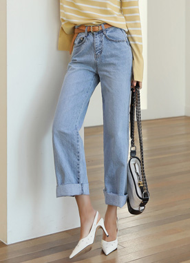 High-Waisted Wide Leg Blue Jeans, Styleonme