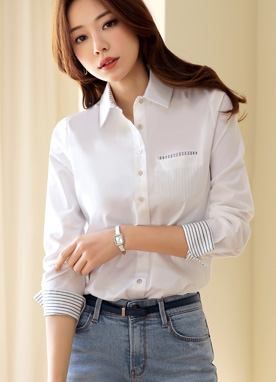 Stripe Accent Collared Shirt, Styleonme