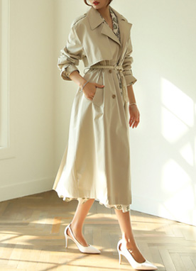 Creamy Double-Breasted Trench Jacket, Styleonme