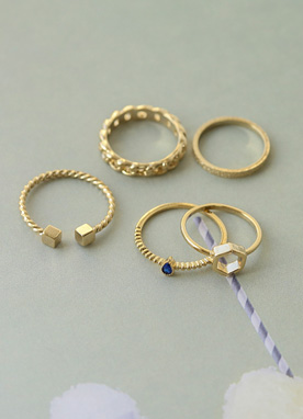 5set Layered Rings, Styleonme