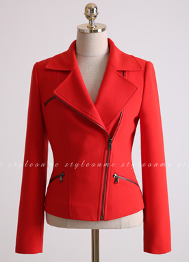 Edgy Zipper Rider Jacket, Styleonme